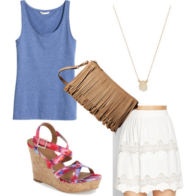 FOREVER 21 Contemporary Embroidered Lace Skirt • Forever 21 • $15.99 H&M - Jersey Tank Top - Black - Ladies • H&M • $5.99 Women's BP. 'Summers' Wedge Sandal, Size 7.5 M - Beige • BP • $39.90 Gabriella Rocha Ramona Fringed Crossbody Purse • Gabriella Rocha • $24.99 Druzy Drop Pendant Necklace • Charming charlie • $4.99–10