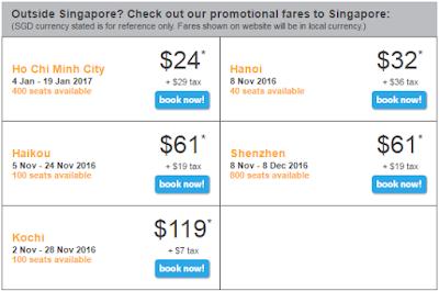Giá vé máy bay đi Singapore 24 USD ngày 27-10-2016