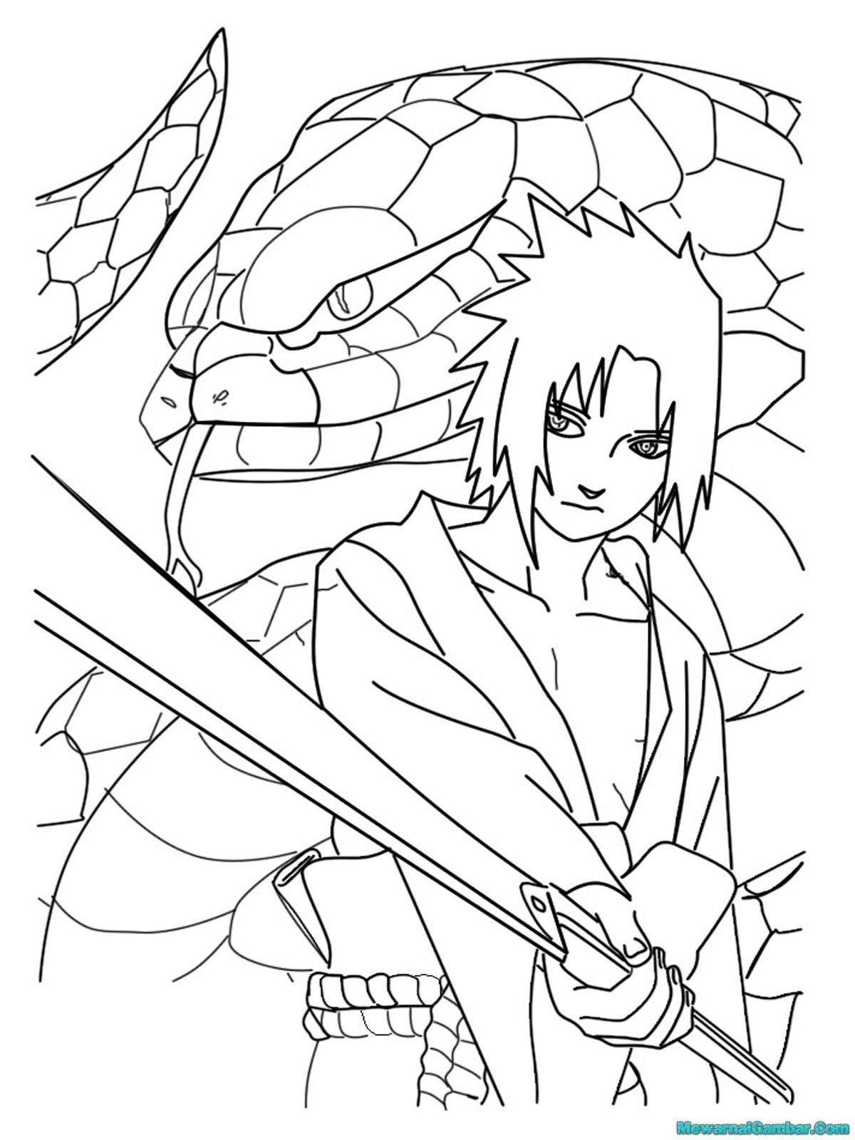 Gambar Mewarnai Naruto Vs Sasuke