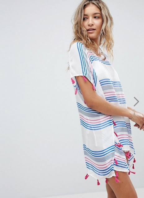 surf gypsy beach striped printed tassel cover up