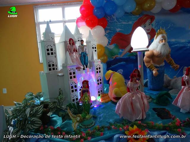 Mesa de aniversário festa A Pequena Sereia - Decoração infantil