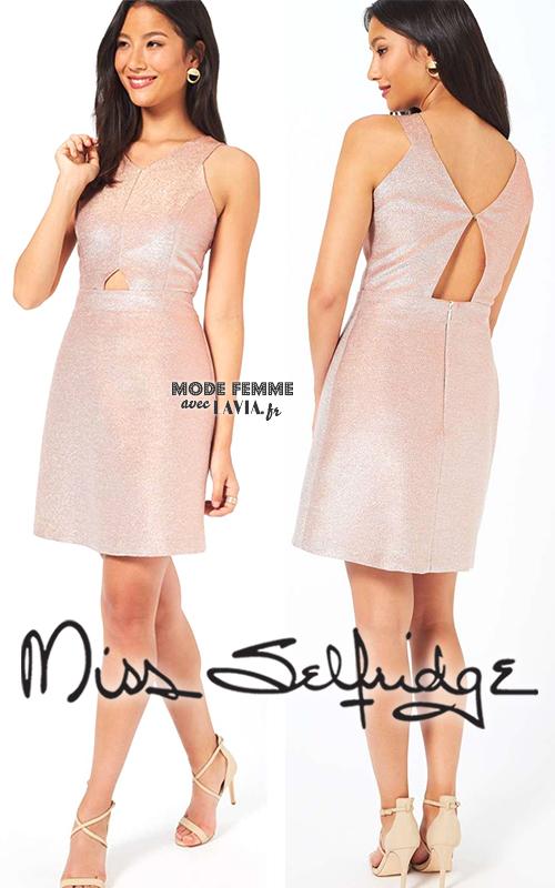Robe de soirée courte nude pailletée MISS SELFRIDGE