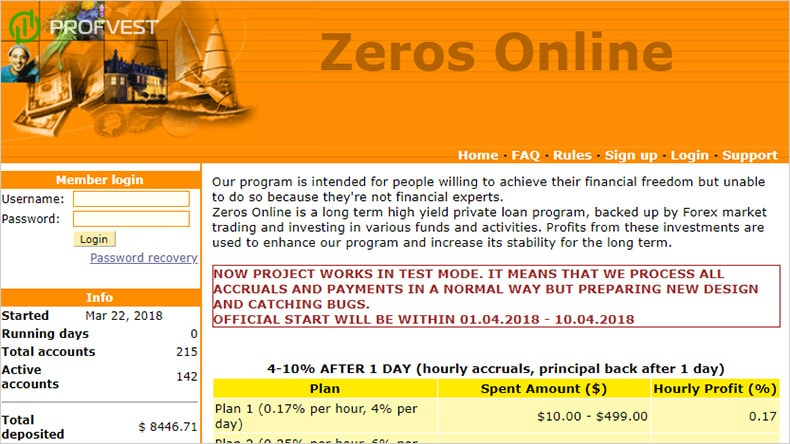Zeros Online обзор и отзывы HYIP-проекта