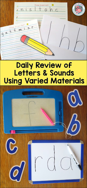Read this post about a variety of ways to review letters and sounds using a multi-sensory approach.