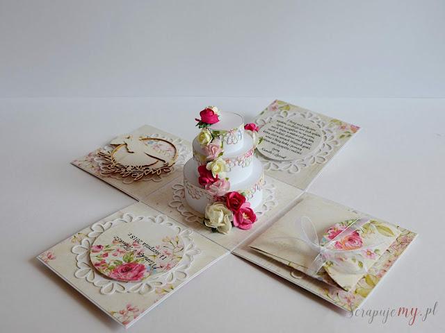 kartka pudełko, box ślubny,prezent na ślub, różowy ślub, box z tortem, delikatne pudełko na ślub, eksploding box, eksplodujące pudełko na ślub, rozpadająca się kartka, kartka ślubna, kartka na pieniądze