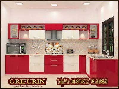 Kitchen set minimalis duco warna merah