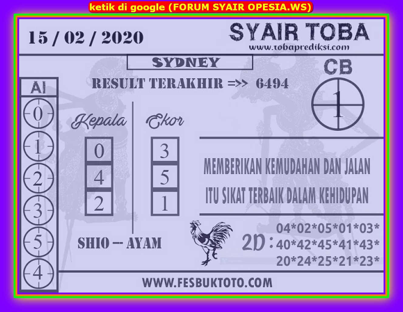 Kode syair Sydney Sabtu 15 Februari 2020 111
