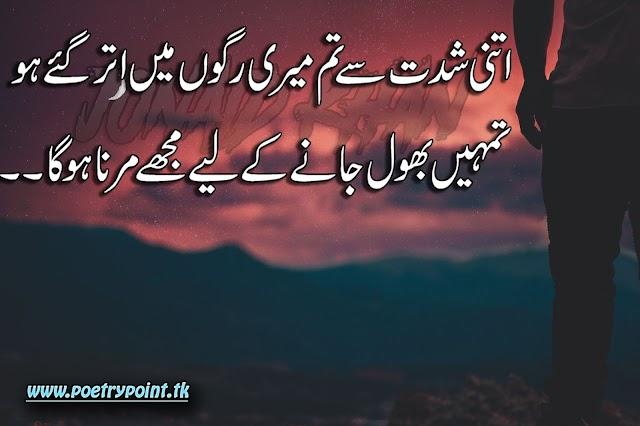 "2 lines sad urdu poetry"" Itni shidet se tum meri rago me otre ho""// sad urdu poetry// poetry sms"