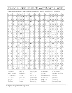 table of elements word search