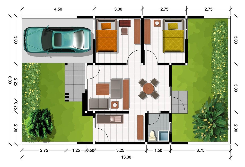 contoh gambar denah rumah 3d 1
