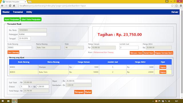 Tempat Kumpulan Source Code SKRIPSI/TESIS/TUGAS AKHIR Aplikasi Penjualan Barang (Kasir) Dengan PHP & JQuery Ajax
