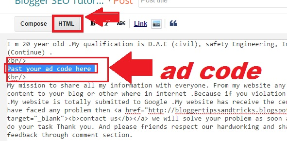 How To Add Ads in Blogger Posts