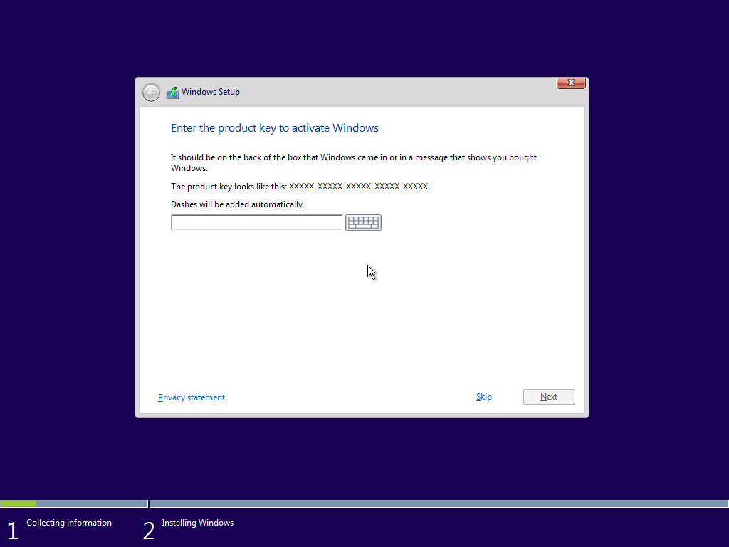 Gambar serial key Install windows 10
