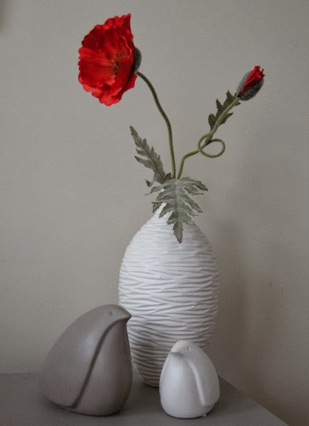mid century modern birds poppy white vase
