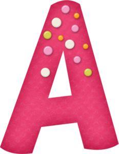 Alfabeto Rosa con Círculos de Colores.