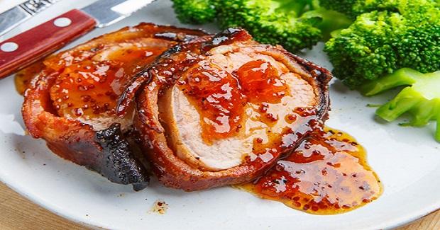 Apricot Glazed Bacon Wrapped Cajun Pork Tenderloin Recipe - Yummy ...