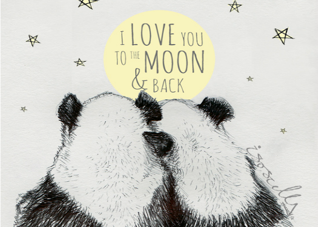Biro sketch drawing illustration panda love to moon and back