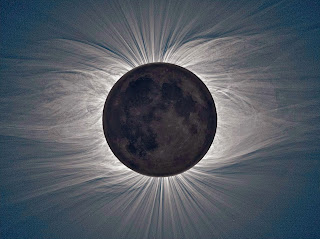 Photograph of the Sun illustrating the solar corona, captured during a total eclipse