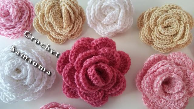 كروشيه وردة ملفوفة . Crochet Flower . كروشيه سمسومة . ورود كروشيه . كروشيه وردة . crochet samsoma كروشيه وردة مجسمة . Easy Crochet 3D Flower. 3D Crochet Flower . How to crochet a flower .