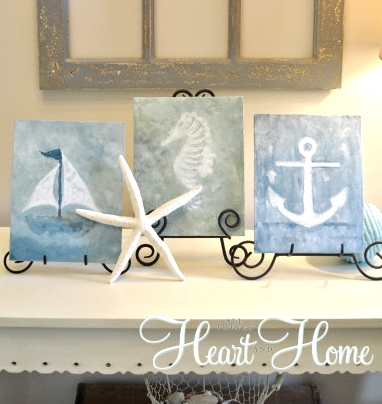 diy watercolor canvases with sea clip art