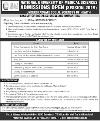 NUMS BS Social Sciences of Health Admissions 2019