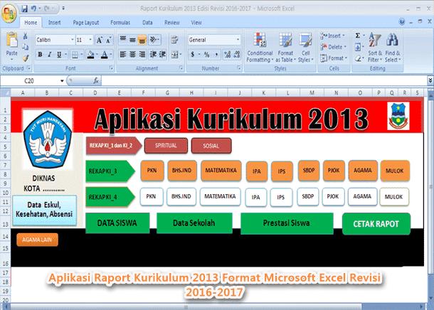 Aplikasi Raport Kurikulum 2013 Revisi Terbaru Format Microsoft Excel