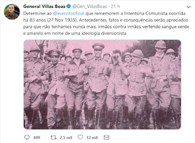 Tuíte de general Villas Boas