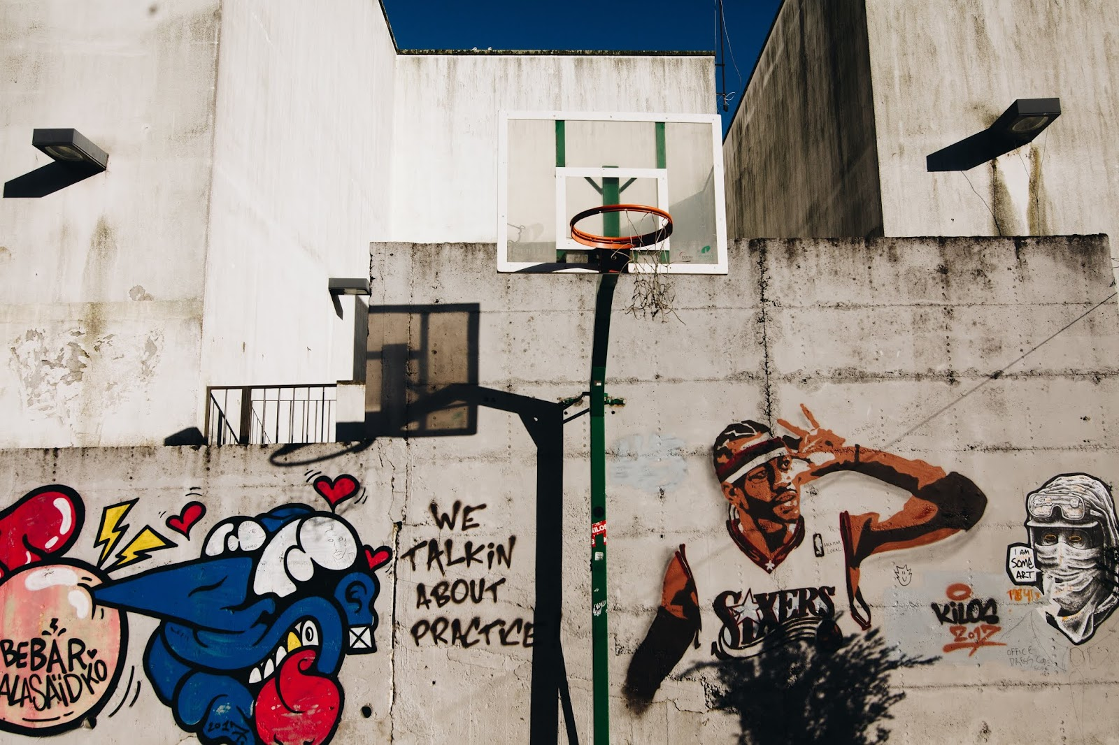 Allen Iverson Of Sixers Graffiti Wall By Catia Matos Street Art