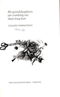 frontispiece with signature of Colleen Thibaudeau author of My granddaughters are combing out their long hair
