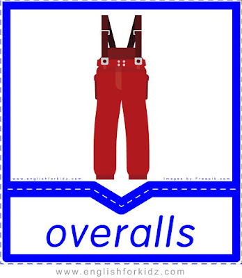 Overalls - English clothes and accessories flashcards for ESL students