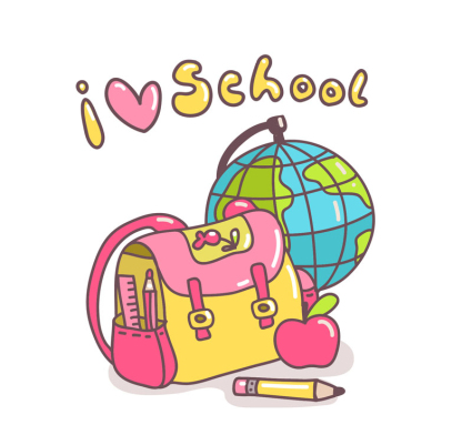 CARTOON SCHOOL SUPPLIES VECTOR Free Vector
