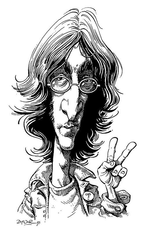 """Caricatura de """"John Lennon"""" por Santiago Dufour"""