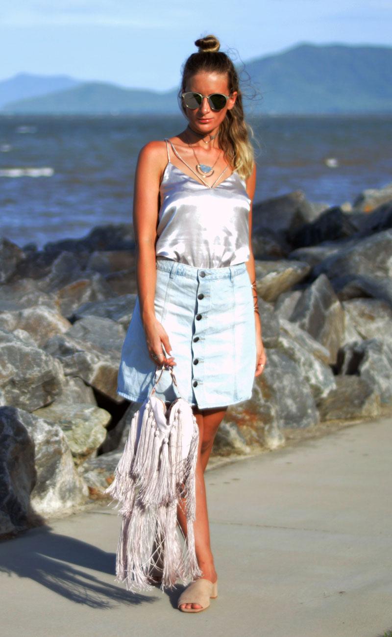 silver slip silk cami and denim skirt street style