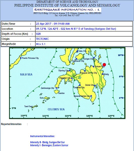 Magnitude 5.1 earthquake shakes Surigao del Sur on April 23, 2017