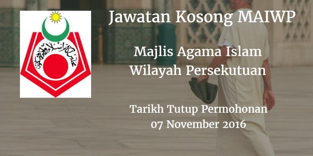Jawatan Kosong MAIWP 07 November 2016