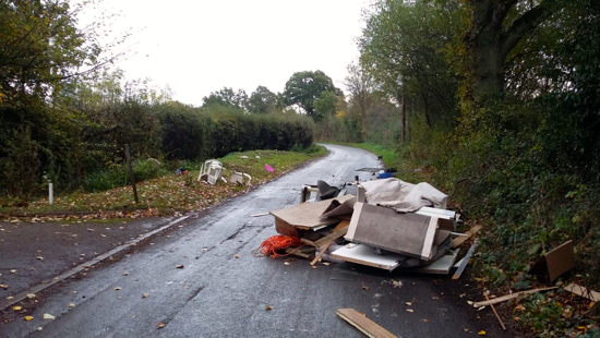 Fly-tipping on Bulls Lane, North Mymms Image by North Mymms News, released under Creative Commons