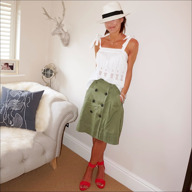 My Midlife Fashion, monsoon dahl linen embroidered cami top, marks and spencer handwoven panama hat, j crew woven wedge sandals, j crew chino midi skirt