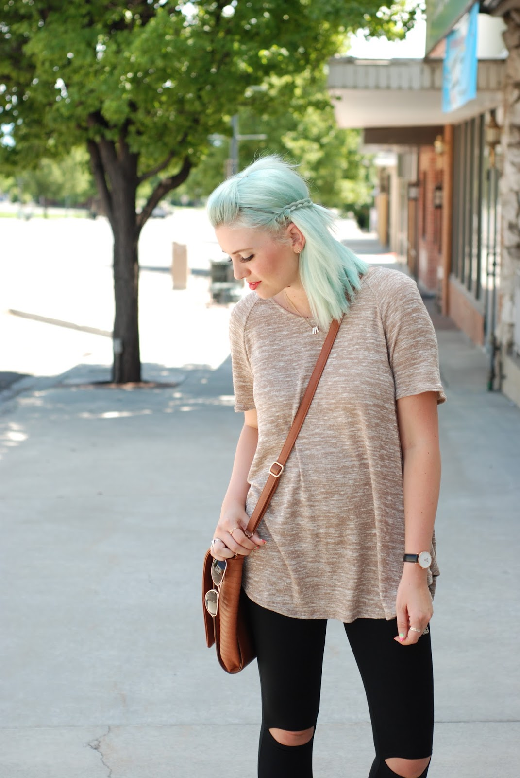 Messenger Bag, Ripped Knee Leggings, Blue Hair