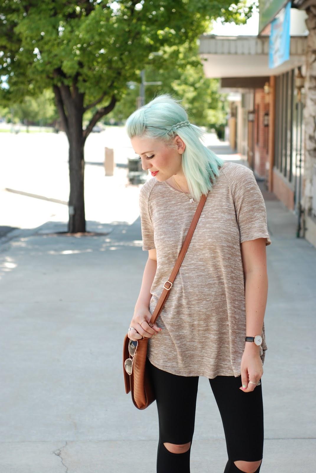 Messenger Bag, Ripped Knee Leggings, Blue Hair