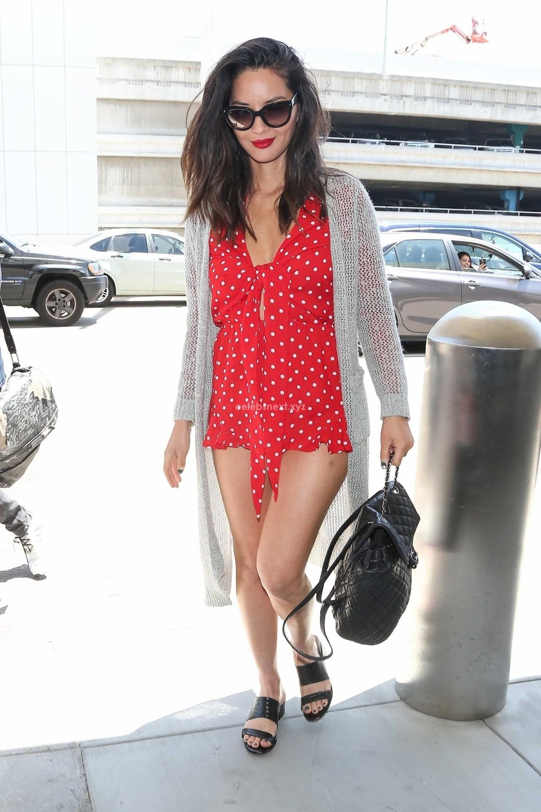OLIVIA MUNN ALMOST NUDE LEGS IN RED SHORT DRESS WOW June 2018 ~ CelebsNext.xyz Exclusive Celebrity Pics