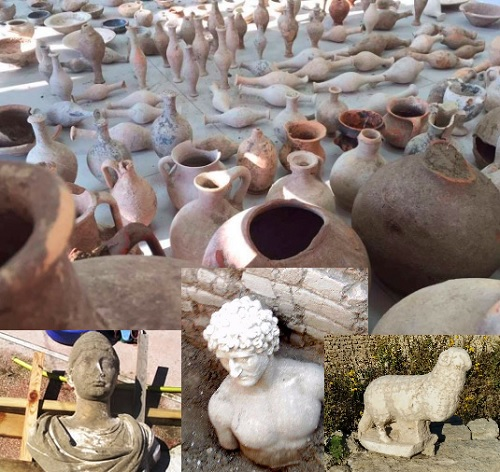 Pottery and sculptures at Apollonia park