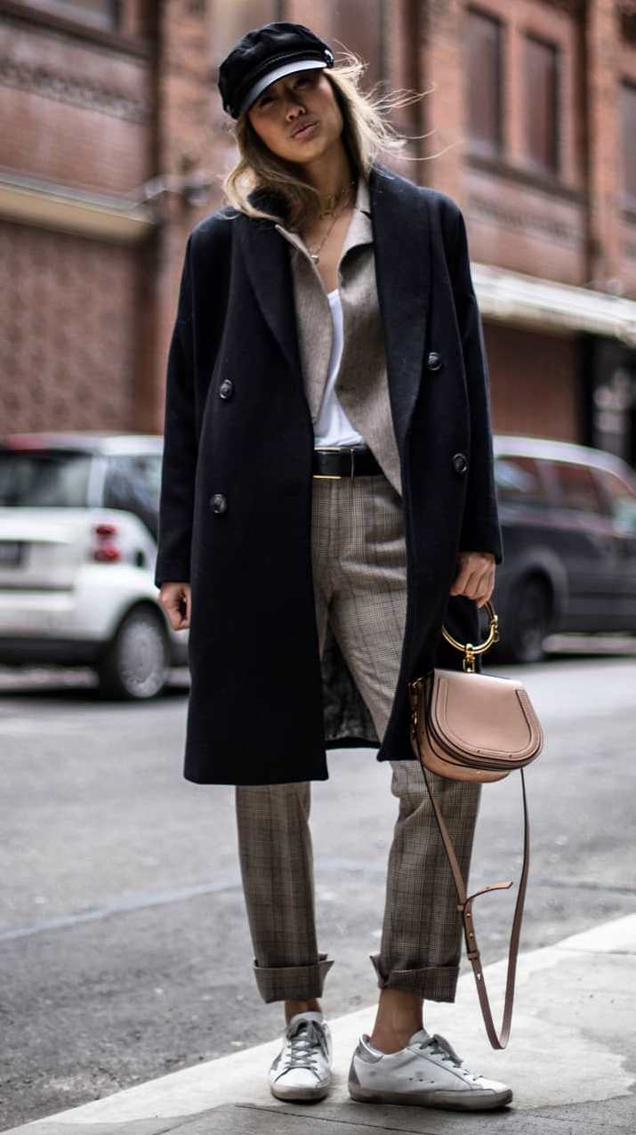 layering outfit idea to try this fall : coat + plaid suit + white top + bag + sneakers