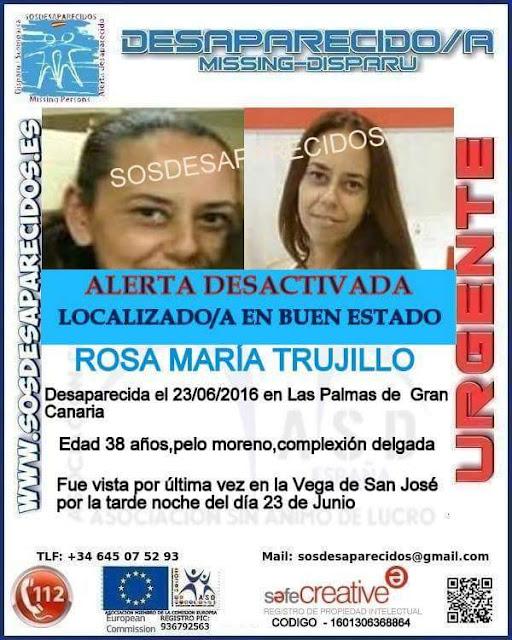 Localizada buen estado  Rosa maría Trujillo desaparecida Vega San José, Las Palmas