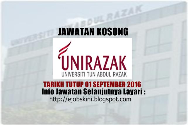 Jawatan Kosong Universiti Tun Abdul Razak (UNIRAZAK) September 2016