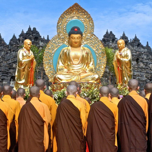 Tinuku Travel Vesak or Buddha Day is holiest day celebrations in sacred ceremonies in Mendut and Borobudur temple every May