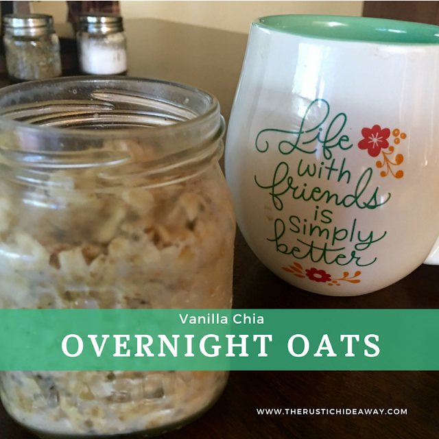Image of coffee cup, jar filled with oats sitting on table