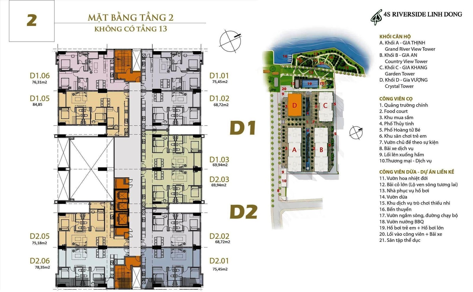 Mặt bằng dự án căn hộ 4S Linh Đông Block D Gia Vượng tầng 2