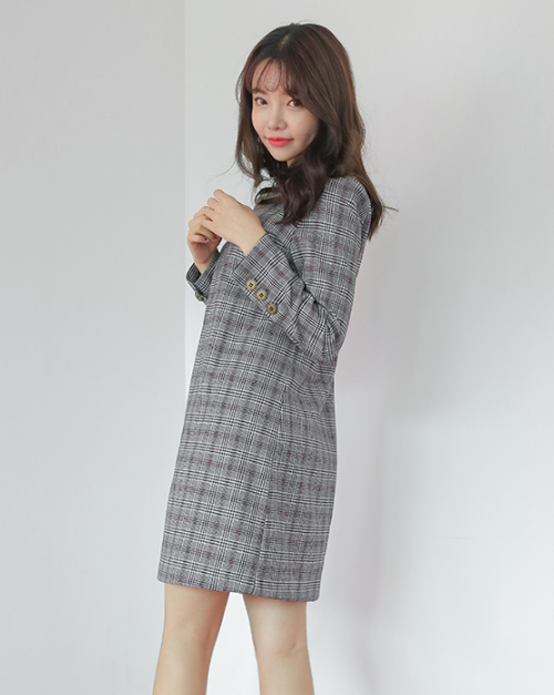 Decorative Button Accent Check Print Dress