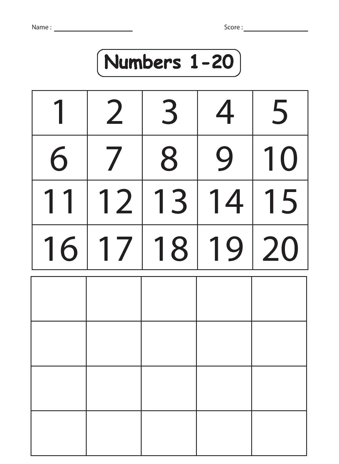 Number Writing Assessment 1 20