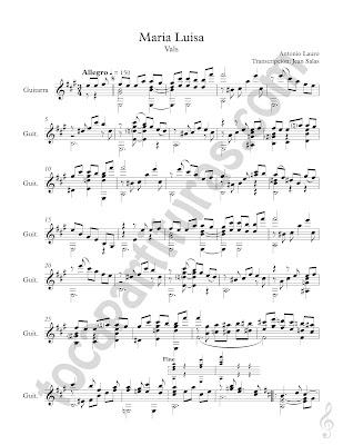 Partitura de Guitarra Clásica de María Luisa de Antonio Lauro Vals para guitarra